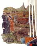 odsłonięty fragment malowidła ściennego w jednym z pomieszczeń skrzydła pólnocnego